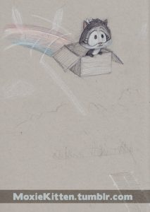 Moxie Kitten soars through the air in a cardboard box, a rainbow trailing behind her, on textured grey paper