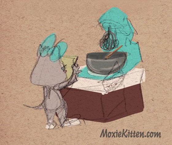 Moxie Kitten reads a recipe in front of her mixer