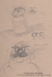 Sketch of Mojo Tiger in disguise (and a kitten in a mayonnaise jar)