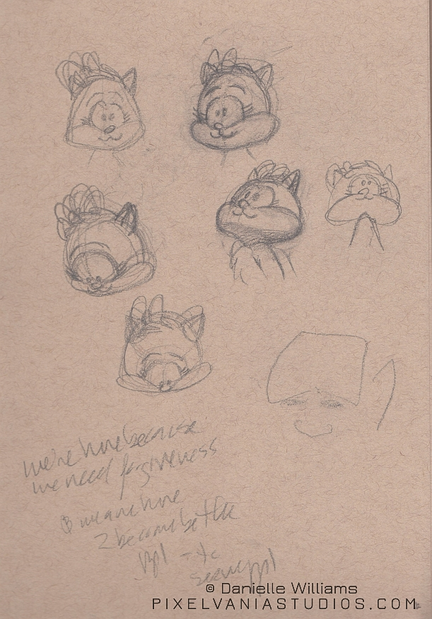 Sketches of Moxie's head at various angles